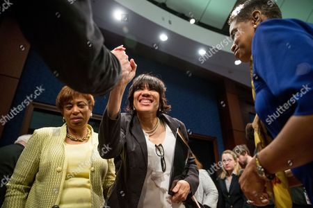 Karen Weaver, Dan Kildee, Brenda Lawrence, Donna Edwards Flint Mayor Karen Weaver, center, is greeted by Rep. Brenda Lawrence, D-Mich., left, Committee Co-Chair Rep. Donna Edwards, D-Md., right, and Rep. Dan Kildee, D-Mich., top left, following a House Democratic Steering and Policy Committee hearing on the Flint water crisis on Capitol Hill in Washington
