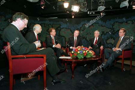 DOLE Republican presidential hopefuls gather for a debate Friday night, at CNN studios in Washington. From left are Steve Forbes, Sen. Phil Gramm, R-Texas, Sen. Arlen Specter, R-Pa., Rep. Robert Dornan, R-Calif., Sen. Richard Lugar, R-Ind., andSenate Majority Leader Bob Dole of Kansas