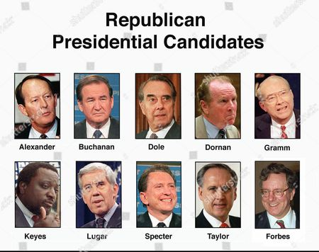 WILSON FILE--These are the Republican candidates for President. They are, top row from left: former Tennessee Gov. Lamar Alexander; Pat Buchanan; Senate Majority Leader Bob Dole of Kansas; Rep. Robert Dornan, R-Calif.; and Sen. Phil Gramm, R-Texas. Bottom row from left are: Alan Keyes; Sen. Richard Lugar, R-Ind.; Sen. Arlen Specter, R-Pa.; Morry Taylor; and publisher Steve Forbes