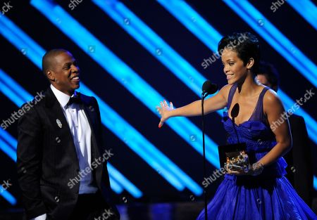 "Stock Image of Rihanna, Jay-Z Rihanna and Jay-Z accept the award for best rap/sung collaboration for ""Umbrella"" at the 50th Annual Grammy Awards, in Los Angeles"