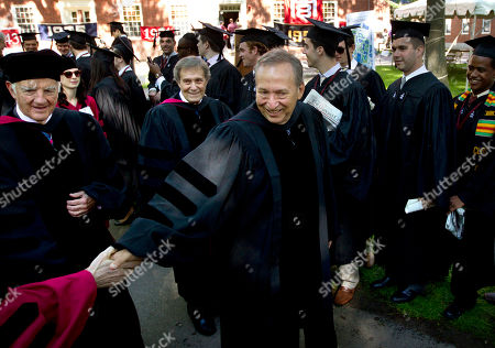 Derek Bok, Neil Rudenstine, Lawrence Summers Former Harvard University presidents Derek Bok, left, Lawrence Summers, center, and Neil Rudenstine, behind center, greet people while walking in a procession during Harvard University commencement exercises, in Cambridge, Mass., . Summers is also a former U.S. Secretary of the Treasury