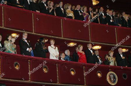 NICHOLS President George Bush, fourth right, first lady Laura Bush, fifth right, Vice President Dick Cheney, right, and Lynne Cheney, second right, with the recipients of the 2003 Kennedy Center Honors, Loretta Lynn, left, Mike Nichols, second left, James Brown, third left, Carol Burnett, fourth left and Itzhak Perlman, fifth left, sing the National Anthem at the start of a gala performance at the Kennedy Center for the Performing Arts, in Washington. Standing at the back are former first lady Barbara Bush, sixth left, Secretary of State Colin Powell, third right