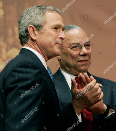 "BUSH POWELL President Bush, left, and Secretary of State Colin Powell, right, attend Georgetown University's ""Let Freedom Ring"" Celebration Honoring Dr. Martin Luther King, Jr. at the John F. Kennedy Center for the Performing Arts, in Washington. Powell and his wife Alma Powell received the 2005 ""John Thompson Legacy of a Dream Award"