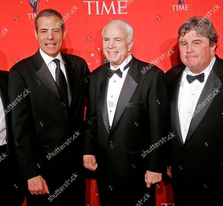Richard Stengel, John McCain, Ed McCarrick Republican presidential candidate, Sen. John McCain, R-Ariz., center, smiles as he poses for a photograph with Richard Stengel, left, managing editor of Time, and Ed McCarrick, president and worldwide publisher of Time, as he arrives at the Time 100 Gala on in New York