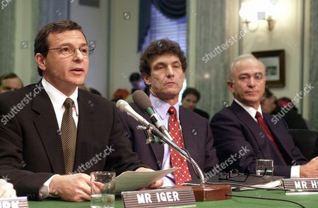 IGER HORN HARRIS Motion picture studio executives gather on Capitol Hill, to testify before a Senate Commerce Committee hearing on marketing violence to children. From left are, Robert Iger of Disney, Miramax; Alan Horn of Warner Brothers and Mel Harris of Sony