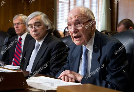 Ernest Moniz, Brent Scowcroft, Jeff Bingaman Former National Security Adviser under Presidents Gerald Ford and George H. W. Bush, Brent Scowcroft, right, delivers his opening remarks on Capitol Hill in Washington, during a Senate Energy and Natural Resources hearing on the nomination of Energy Secretary nominee Ernest Moniz. At left is former New Mexico Sen. Sen. Jeff Bingaman, who once chaired the committee