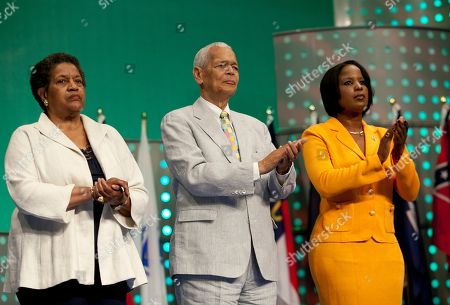 Myrlie Evers-Williams, Julian Bond, Roslyn Brock Myrlie Evers-Williams, left, the first full-time chairwoman of the NAACP and widow of murdered civil rights leader Medgar Evers, Julian Bond, middle, and member of the NAACP National Board of Directors, and Roslyn Brock, NAACP Chairman, are recognized during the 102nd Annual NAACP Convention in Los Angeles