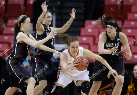 Stock Picture of Allie LeClaire, Kaili Lukan, Lexi Weitzer, Michelle Miller Princeton guard Michelle Miller, center, dribbles between Green Bay guard Allie LeClaire, from left, guard Kaili Lukan and center Lexi Weitzer in the second half of an NCAA college basketball game in the first round of the NCAA tournament, in College Park, Md. Miller contributed a team-high 20 points to Princeton's 80-70 win