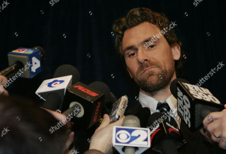 Stock Picture of Trevor Linden, president of the National Hockey League Players Association, answers questions during a news conference, in New York