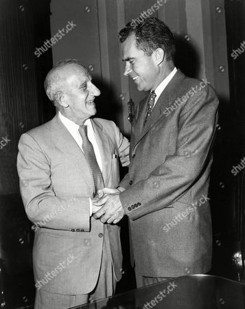 Durante Nixon Entertainer Jimmy Durante shakes hands with Vice President Richard Nixon during a visit to the Capitol, July 1957