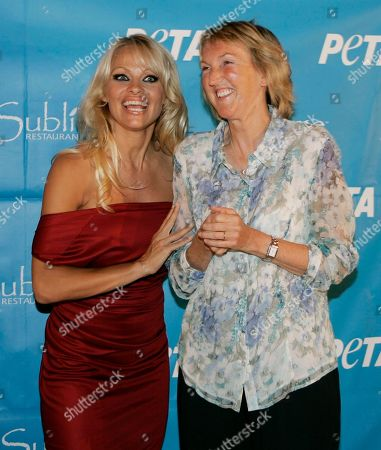 Pamela Anderson Pamela Anderson and PETA President Ingrid Newkirk, right, pose for photographers as they arrive for Anderson's 40th birthday party at the Sublime cafe in Fort Lauderdale, Fla. . She was celebrating her birthday at the vegan hotspot with fellow PETA members