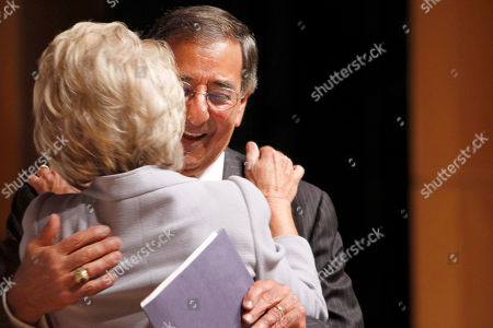 Leon Panetta, Jane Harman Defense Secretary Leon Panetta hugs Wilson Center Director, President and CEO, former California Rep. Jane Harman, after she introduced him at the Wilson Center where he was to spoke about defense priorities, in Washington