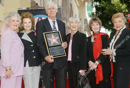 Stock Picture of WILLIAMS Television entertainment mogul Ted Turner is honored, with the 2,251st star on the Hollywood Walk of Fame in the Hollywood area of Los Angeles. From left, actresses: Ann Rutherford, Cora Sue Collins, Turner, Betty Garrett, Margaret O'Brien, and Esther Williams