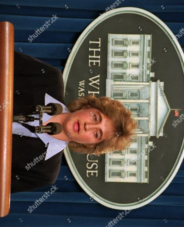 """DEE DEE MYERS White House Press Secretary Dee Dee Myers reads a statement by President Clinton Feb. 20,1994 at the White House. Clinton said that Serbian military leaders either moved or surrendered enough of their artillery surrounding Sarajevo to make NATO air strikes unnecessary """"at this time"""