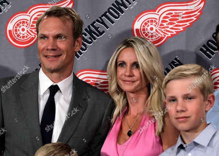 Nicklas Lidstrom, Annika Lidstrom, Samuel Lidstrom Detroit Red Wings captain Nicklas Lidstrom of Sweden stands with his wife Annika and son Samuel after announcing his retirement in Detroit, . Lidstrom retires after a 20-season career