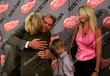 Nicklas Lidstrom, Annika Lidstrom Detroit Red Wings captain Nicklas Lidstrom of Sweden hugs team owner Marian Ilitch, as his wife, Annika, and eight-year-old son, Lucas, look, after announcing his retirement during a news conference in Detroit, . Lidstrom retires after a 20-season career