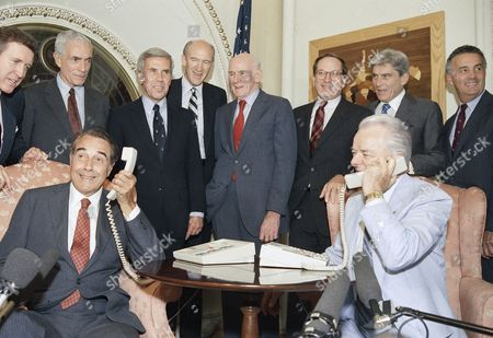 Robert Byrd, Robert Dole Senate Majority Leader Robert Byrd, right, a Minority Leader Bob Dole calls President Reagan in Helsinki, to inform him of the ratification of the INF Treaty in Washington. In back are, from left: Senator, William Cohen, Claiborne Pell, Richard Lugar, Alan Simpson, Alan Cranston, Sam Hunn and John Warner
