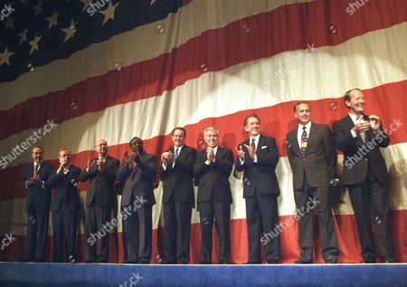 ALEXANDER Republican presidential hopefuls, from left, Robert Dole, Pete Wilson, Phil Gramm, Alan Keyes, Pat Buchanan, Richard Lugar, Arlen Specter, Morry Taylor and Lamar Alexander stand on the podium as they are introduced to the crowd at the Iowa Republican Party straw poll, in Ames, Iowa