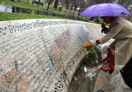 "LEMACK Carie Lemack of Framingham, Mass. stands by the memorial to the Massachusetts victims of the Sept. 11, 2001 terror attacks, where her mother Judy Larocque's name on at the Public Garden in Boston, . Lemack attended a news conference to urge House Speaker J. Dennis Hastert to bring the ""9/11 Recommendation Implementation Act"" to the floor for a vote Dec. 6, 2004 and also urge the President to continue his support for the bill. Larocque, a marketing executive, died aboard AmericanAirlines Flight 11, which was flown into the World Trade Center"