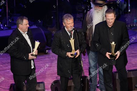 Steve Gatlin, Larry Gatlin, Rudy Gatlin The Gatlin Brothers accept the Cliffie Stone pioneer ward during the Academy of Country Music Honors show, in Nashville, Tenn. Front row, from left, are Steve Gatlin, Larry Gatlin, and Rudy Gatlin