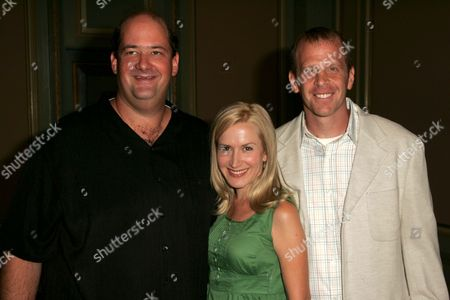 Stock Picture of Brian Baumgartner with Angela Kinsey and Paul Lieberstein
