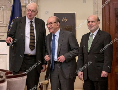 Ben Bernanke, Paul Vocker, Alan Greenspan Federal Reserve Board Chairman Ben Bernanke, right, with former chairmen Paul Volcker, left, and Alan Greenspan, talk after participating in the ceremonial signing of a certificate commemorating the 100th anniversary of the signing of the Federal Reserve Act, at the Federal Reserve Building in Washington. Bernanke, joined by his two predecessors, marked the 100th anniversary of the Federal Reserve by reflecting on the bold actions past chairmen have had to take in the best interest of the U.S. economy