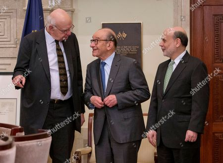 Ben Bernanke, Paul Volcker, Alan Greenspan Federal Reserve Board Chairman Ben Bernanke, right, with former chairmen Paul Volcker, left, and Alan Greenspan, talk after participating in the ceremonial signing of a certificate commemorating the 100th anniversary of the signing of the Federal Reserve Act, at the Federal Reserve Building in Washington. Bernanke, joined by his two predecessors, marked the 100th anniversary of the Federal Reserve by reflecting on the bold actions past chairmen have had to take in the best interest of the U.S. economy