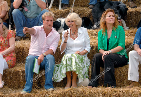 Watching a demonstration of sheep herding on the set of the BBC's 'One Man and His Dog' - Ben Fogle, Camilla, Duchess of Cornwall and Shauna Lowry