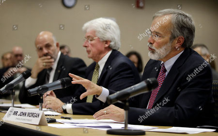 John Morgan, Joe DiPietro, Richard Rhoda John Morgan, right, chancellor of the Tennessee Board of Regents, answers questions during a budget hearing on higher education, in Nashville, Tenn. At left is Dr. Joe DiPietro, president of the University of Tennessee, and at center is Dr. Richard Rhoda, executive director of the Tennessee Higher Education Commission