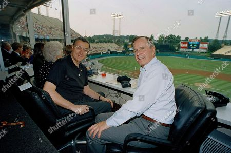 George H.W. Bush, George Bush, Eli Jacobs President George Bush and Baltimore Orioles owner Eli Jacobs in the owners box at Memorial Stadium in Baltimore, Md., where the president was to view the Texas Rangers and Baltimore Orioles baseball game