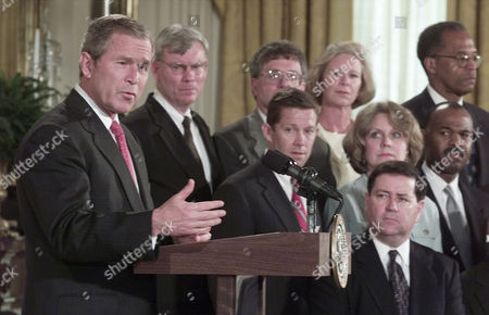 PARKER President Bush introduces his federal judicial appointments, in the East Room of the White House. Front row left to right, Judge Dennis Shedd, second row, Jeffrey Sutton, Judge Edith Brown Clement, Judge Roger Gregory, third row, Judge Terrence Boyle, Michael McConnell, Judge Deborah Cook, and Judge Barrington Parker