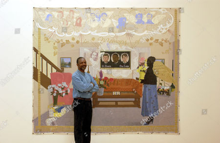 Kerry James Marshall with his painting 'Souvenir II'