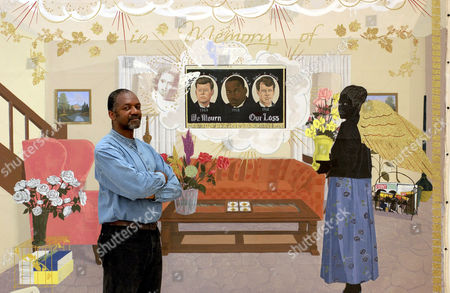 Stock Photo of Kerry James Marshall with his painting 'Souvenir II'