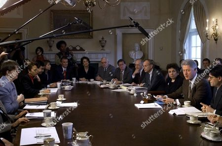 LEW President Clinton, seated second from right, speaks to reporters about the ongoing budget negotiations with Congress prior to a cabinet meeting at the White House, in Washington. Clockwise from far left, Attorney General Janet Reno; Secretary of Labor Alexis Herman; Energy Secretary Bill Richardson; Deputy Ambassador of the United States Trade Representative Susan Esserman; Federal Emergency Management Agency Director James Lee Witt; Administrator of the Small Business Administration Aida Alvarez; Director of the Office of National Drug Control Policy Barry McCaffrey; United Nations Ambassador Richard Holbrooke; Education Secretary Richard Riley; Deputy Secretary of the Treasury Stuart Eizenstat; Secretary of Health and Human Services Donna Shalala and Director of the Office of Management and Budget Jack Lew