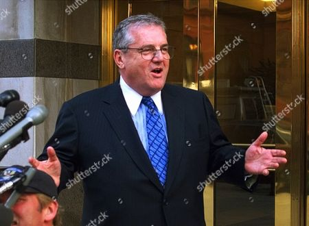 BENNETT SABRIN Robert Bennett, President Clinton's attorney, meets reporters outside his law office in Washington, after U.S. District Judge Susan Webber Wright threw out Paula Jones' sexual harassment civil lawsuit, delivering a major legal victory for the president