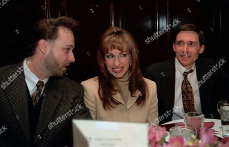 JONES FISHER Paula Jones, center, her husband Stephen Jones, left, and Jones' lawyer James Fisher have dinner at a restaurant in Washington . Jones spent nearly six hours earlier in the day watching President Clinton testify under oath in a sexual harrassment suit brought by her