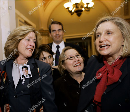 LEMACK Rep. Carolyn B. Maloney, D-N.Y., far right, is greeted by family members of victims of the Sept. 11 attacks, just after the House of Representatives voted to overhaul the nation's intelligence network, on Capitol Hill in Washington, . At far left is Mary Fetchet of New Canaan, Ct., who lost her 24-year-old son Brad in the Sept. 11 attack on the World Trade Center. Second from right is Carol Ashley of Long Island, N.Y., whose 25-year-old daughter, Janice, died in the World Trade Center. Second from left is Carie Lemack, of Framingham, Mass., whose mother Judy Larocque died aboard American Airlines flight 11 when it crashed into the World Trade Center