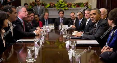 Bill de Blasio, Joe Biden, Eric Garcetti, Valerie Jarrett, Barack Obama, Betsy Hodges President Barack Obama, accompanied by Vice President Joe Biden, speaks to the media before a meeting with mayors and newly-elected mayors from across the country, in the Roosevelt Room of the White House in Washington, to discuss job creation and ensuring middle class families have a pathway to opportunity. Across the President, from left are, Minneapolis Mayor-elect Betsy Hodges, Los Angeles Eric Garcetti, and New York City Mayor-elect Bill de Blasio. Flanking White House Senior Advisor Valerie Jarrett is at right