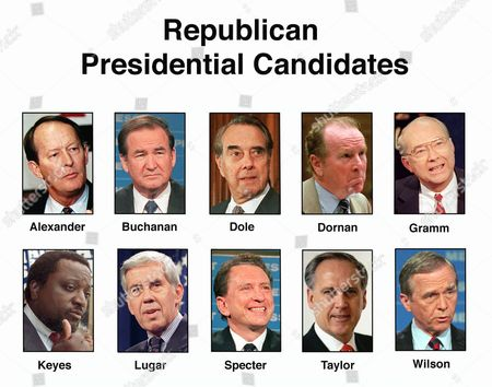 WILSON FILE--These are the Republican candidates for President. They are, top row from left: former Tennessee Gov. Lamar Alexander; Pat Buchanan; Senate Majority Leader Bob Dole of Kansas; Rep. Robert Dornan, R-Calif.; and Sen. Phil Gramm, R-Texas. Bottom row from left are: Alan Keyes; Sen. Richard Lugar, R-Ind.; Sen. Arlen Specter, R-Pa.; Morry Taylor; and California Gov. Pete Wilson