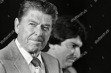 Ronald Reagan Former California Gov. Ronald Reagan appeared tight lipped when asked at a Miami press conference, about his running for President in 1980. Reagan was in Miami to help with the congressional campaign of Al Cardenas (R), the GOP candidate running against Democrat incumbent Claude Pepper