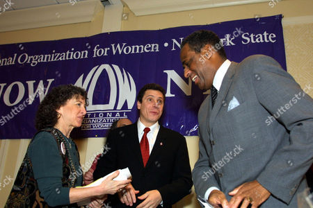 FRANK MCCALL CUOMO Phyllis B. Frank, president of the Rockland County National Organization for Women, left, talks with former HUD Secretary Andrew Cuomo, center, and New York State Comptroller H. Carl McCall, right, after the two men addressed a NOW's candidate's forum held, in Albany, N.Y