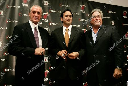 Pat Riley, Eric Spoelstra, Micky Arison Former Miami Heat coach Pat Riley, left, newly named head coach Erik Spoelstra, center, and Managing General Partner Micky Arison, right, pose for a photograph after Riley stepped down as head coach in Miami