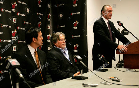 Erik Spoelstra; Pat Riley; Micky Arison Miami Heat coach Pat Riley, right, announces he is stepping down as coach during a news conference in Miami . At left is the newly named head coach Erik Spoelstra, and center is Managing General Partner Micky Arison