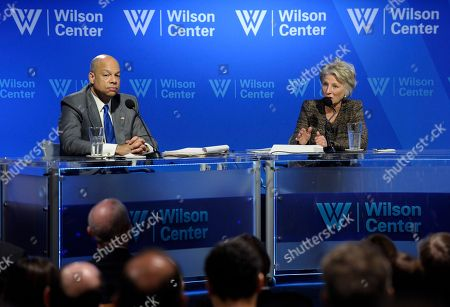 Jeh Johnson, Jane Harman Wilson Center President Jane Harman, right, talks with Homeland Security Secretary Jeh Johnson after Johnson gave his first major address after being sworn in as secretary at the Wilson Center in Washington