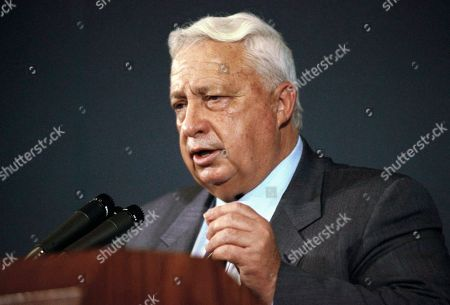 Israeli housing Minister Ariel Sharon gestures during a speech at the National Press Club in Washington on . Sharon was in Washington to meet with Housing and Urban Affairs Secretary Jack Kemp on the influx of Soviet Jews into Israel. Secretary of State James A. Baker III tried to prevent Kemp from meeting with Sharon, and a State Department spokesman as an described Sharon as an opponent of President George H. Bush?s Middle East policy