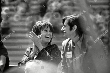 Oscar winning actress Jane Fonda applauds remark by G Black Panther Party chairman Bobby Seale, not shown, during his appearance at a war protest rally at Kezar Stadium in San Francisco on . Seale told the rally that President Richard Nixon must accept North Vietnam?s seven-point peace program to end the war. Man at right unidentified