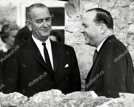 JOHNSON CHRISTIAN President Lyndon B. Johnson shares a laugh with George Christian, right, who will succeed Bill Moyers (not shown) as the president's press secretary. Moyers announced he was resigning to take a job as a newspaper executive. Christian and Johnson were outside a pioneer museum in Fredericksburg,Texas, Dec.18,1966