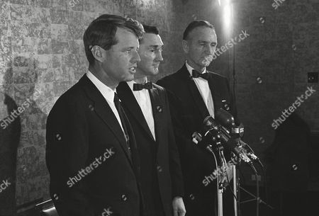 Senator Robert Kennedy of New York, left, with Kenneth P. O' Donnell who served as appointment secretary to late President John F. Kennedy at dinner on in Boston. At right is Sen. Mike Mansfield (D-Montana), principal speaker at the dinner. The dinner was kickoff for O'Donnell's bid for the Democratic nomination for governor of Massachusetts. A spokesman for Kennedys stressed that they were not endorsing O'Donnell but were there to pay tribute to the man who served the late president