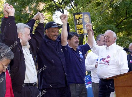 BOWEN From left, United Mine Workers president Cecil Roberts, the Rev. Jesse Jackson, the AFL-CIO's Rick Trumpka and West Virginia AFL-CIO's Jim Bowen celebrate following the kickoff of the AFL-CIO's People Power 2000 bus tour in Charleston, W.Va., Wednesday, Oct.11, 2000