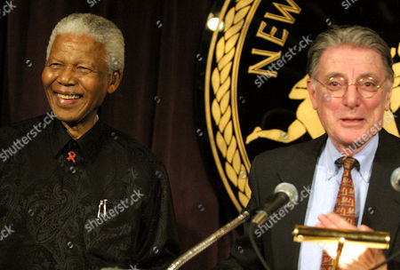 MANDELA OLIVA Former South African President Nelson Mandela and New York University President L. Jay Oliva launch the Fund for African Public Service Education that will award African graduate students scholarships to study at the NYU Wagner School of Public Service in New York
